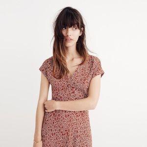 Deep v maxi dress in woodblock floral